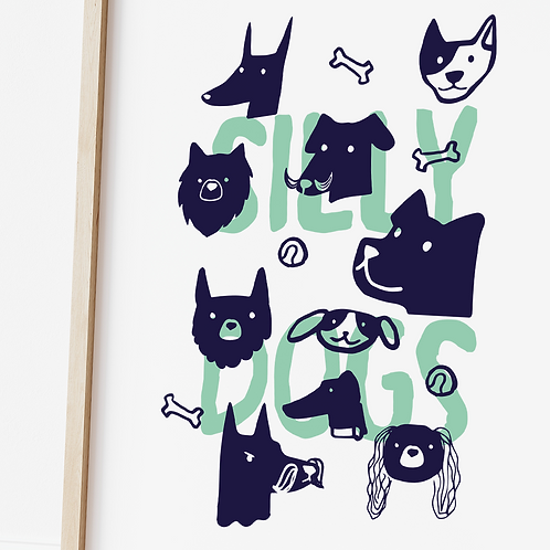 Magda Creative, Silly Dogs Print, A4