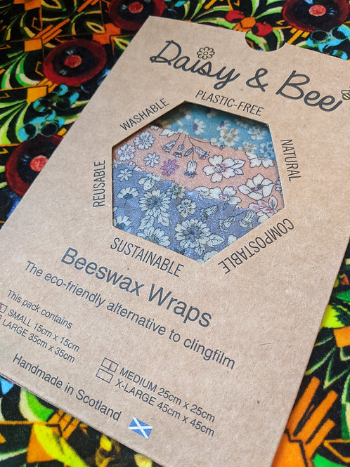 Daisy & Bee, Plastic Free Eco-Friendly Food Wrap Trio,  Mixed Floral Design