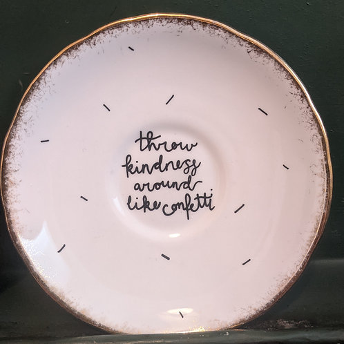 By Clare, Confetti Quote Illustrated Vintage Plate
