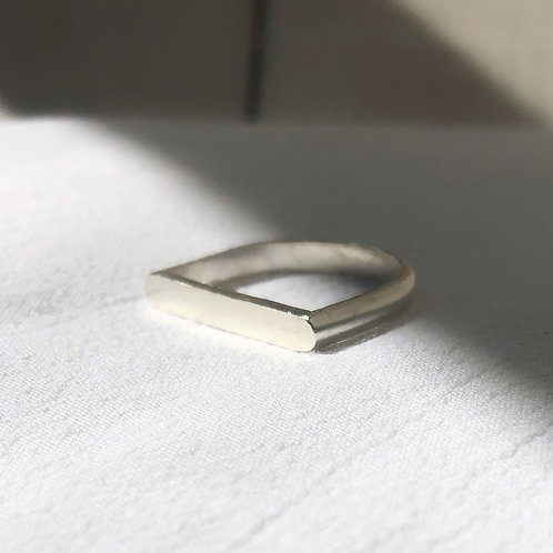 Wild Nora Statement Straight Edge Recycled Silver Ring