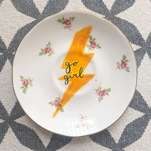 By Clare, Go Girl Illustrated Vintage Plate