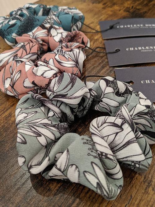 CD Textile Design, Botanical Print Silk Scrunchie