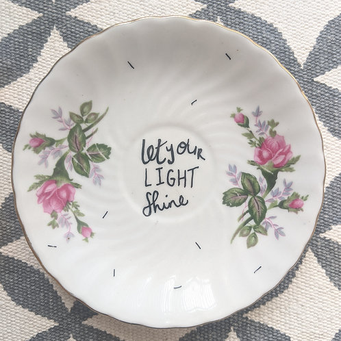 """By Clare Illustrated """"Let Your Light Shine"""" Vintage Plate"""