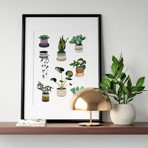 Nebo Peklo Plants and Planters Giclee Print, A3, A4