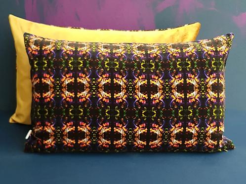 Art Deco Velvet Cushion, Purple & Gold, 65cm x 45cm