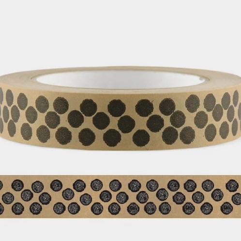 Cascayde, Eco Paper Tape, Black Dot Design, 50m