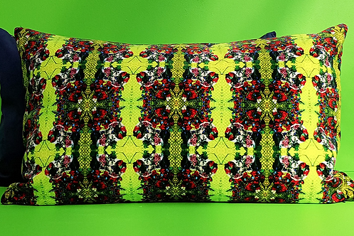 Art Deco Velvet Cushion, Canary Green, 65cm x 45cm