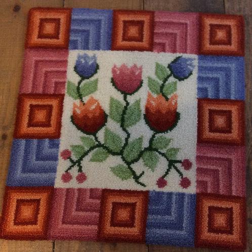 14''x 14.5'' Floral/Geo