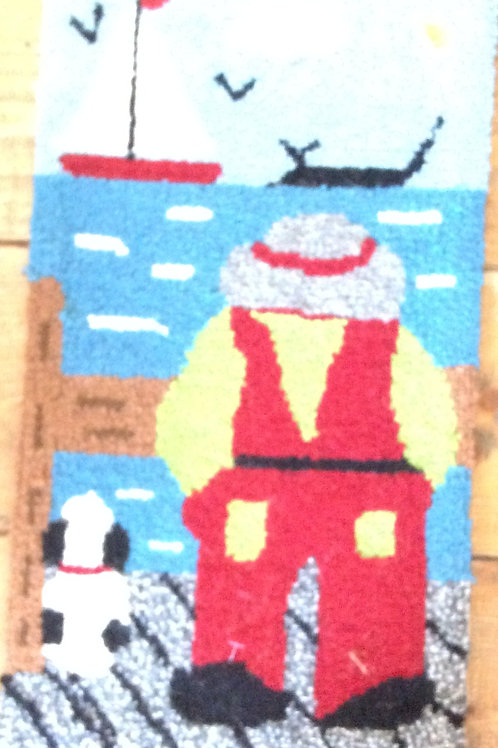 8''x 14'' Fisherman & Dog