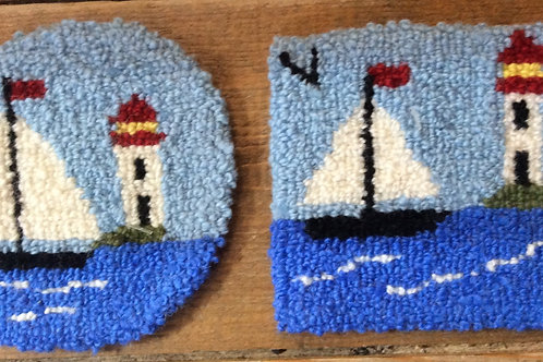 4'' sailboat/lighthouse coaster