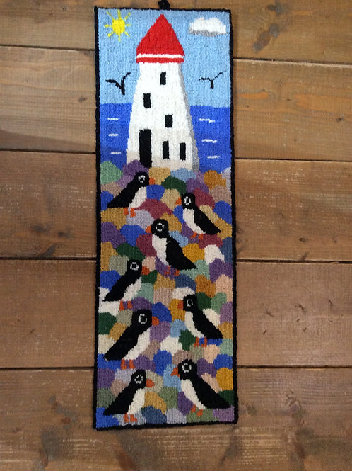 7''x 21'' Puffins / Lighthouse