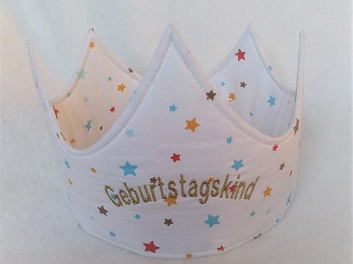 Weiße Geburtstagskrone mit Sternchen und bestickten Namen