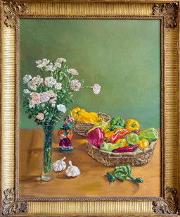 Still Life with Carnations and Chinese Figure