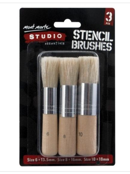 MM Studio Stencil Brushes Pkt 3