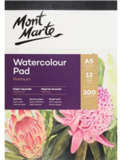 300gsm Watercolour Pad A5 12 Sheets
