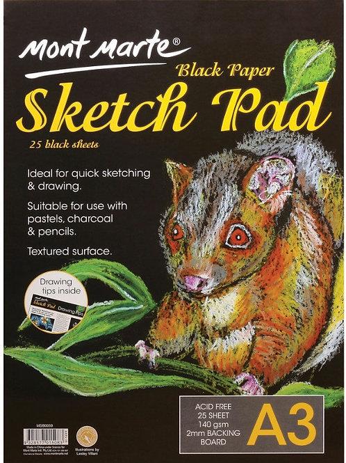 Black Paper Sketch Pad 25 Sheet 140gsm