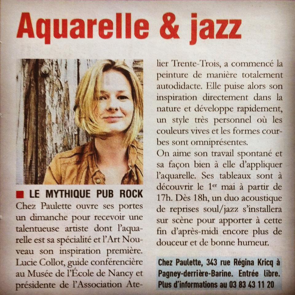 Lucie Collot Aquarelliste - exposition Chez Paulette Pub Rock