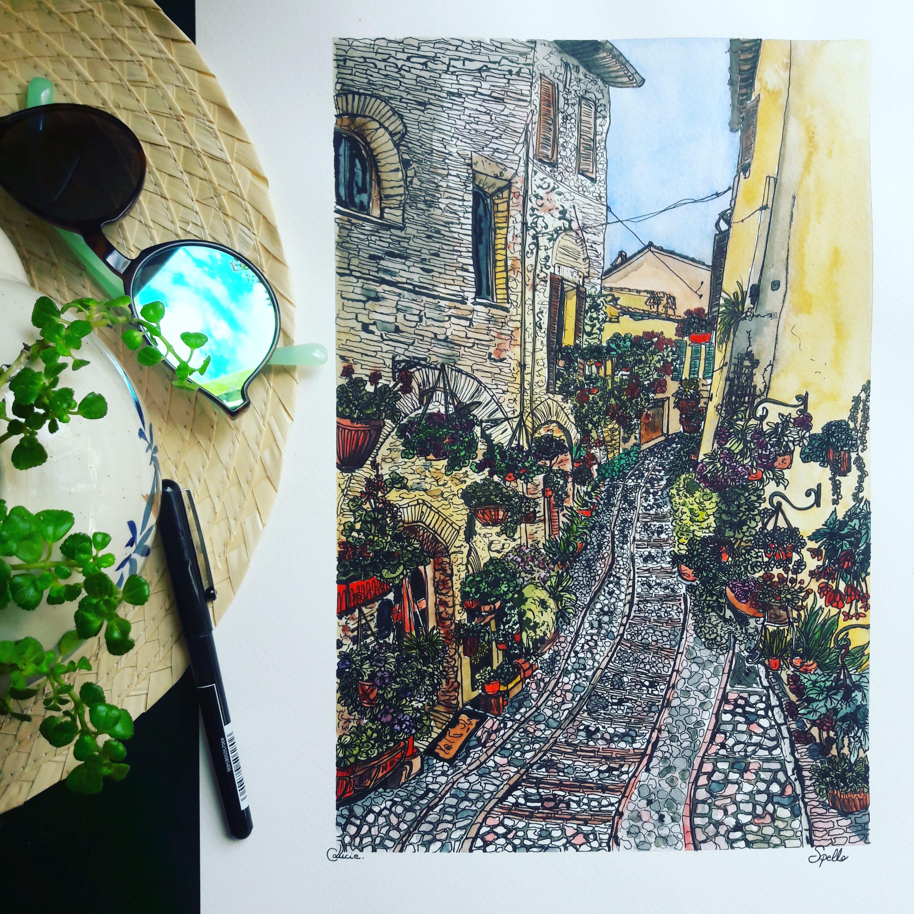 Une ruelle du villa de Spello en Italie