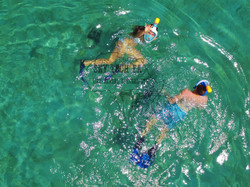 Drone shot of snorkelers