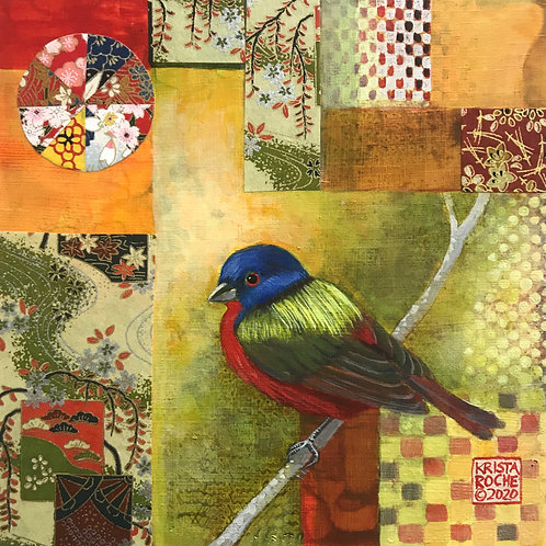 """Rainbow Bird 4"" 8x8 Krista Roche"