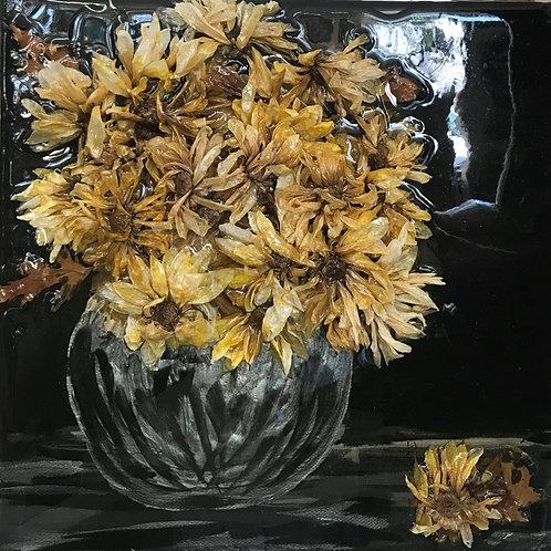 """Gold Flowers on Black"" 12x12 Sharon Richard"