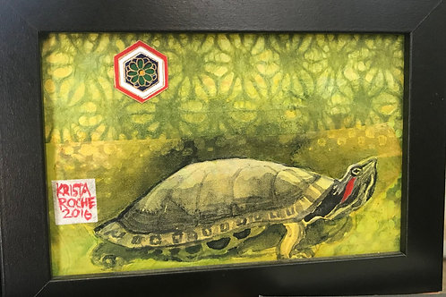 """Red-eared Turtle 2"" 4x6 Krista Roche"