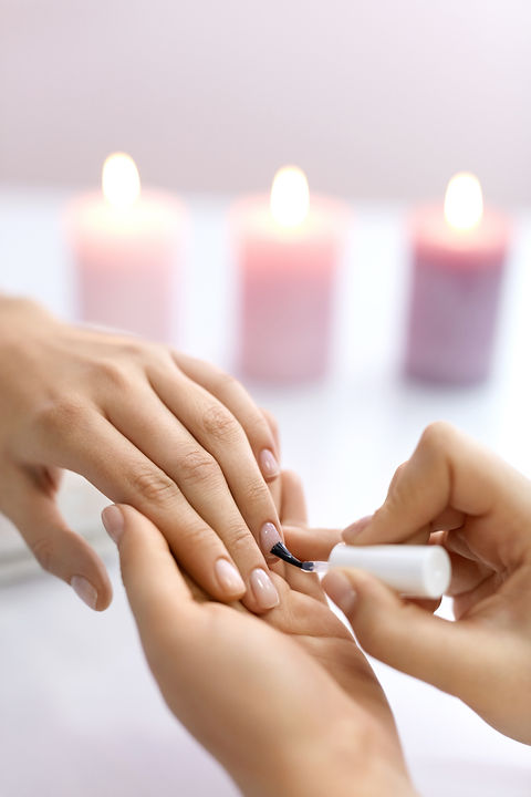 Nail Care And Manicure. Closeup Of Beaut