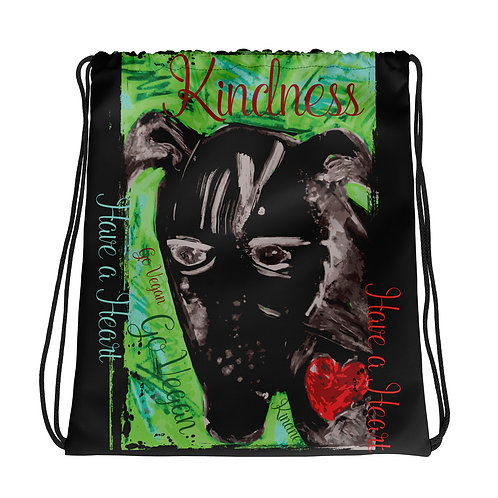 Kindness / Black / Drawstring Bag