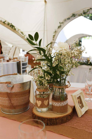 Hessian and Lace Jars, Log Slices and Table Numbers