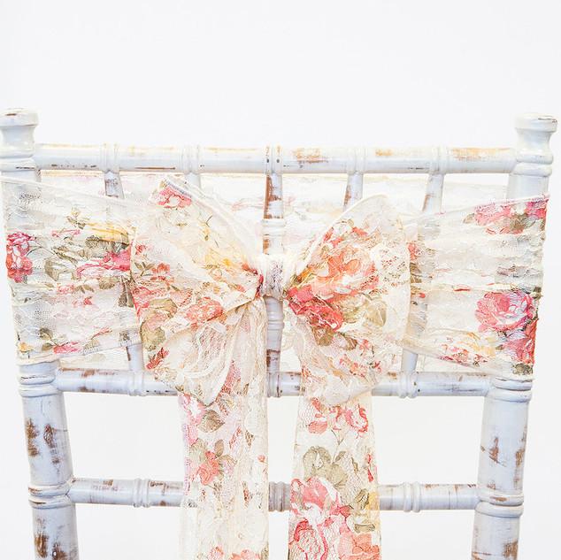Lace Chair Sash Floral or Plain