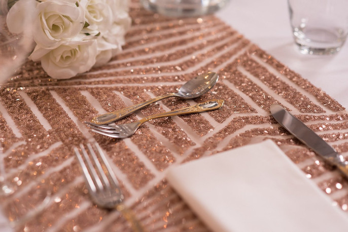 Rose Gold Geometric Sequin Table Runners