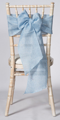 Light Blue Linen Chair Sash and Matching Table Runner