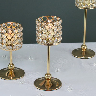 Gold Crystal Effect Candle Holder