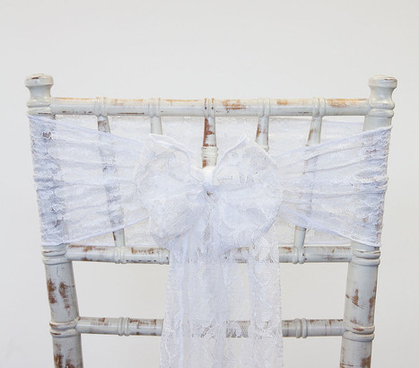 White Lace Chair Sash