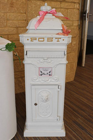 White Wedding Lockable Post Box