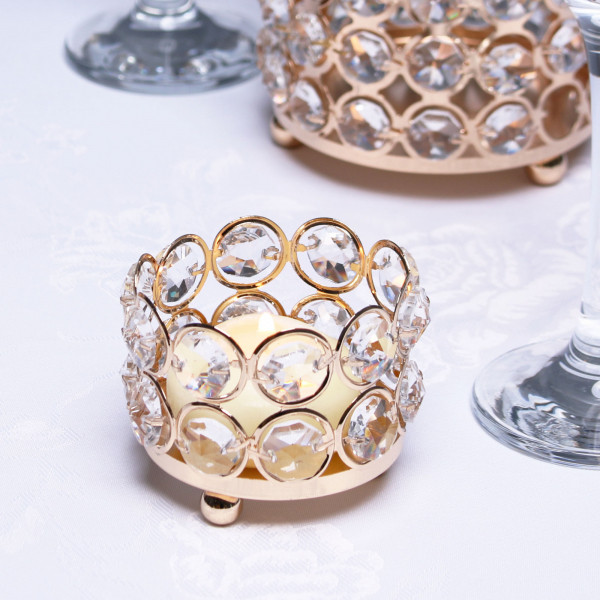 Gold Crystal Effect Tealight Holder