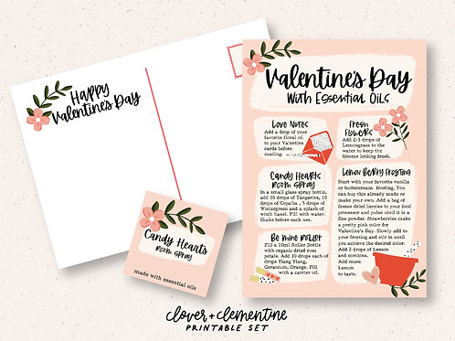 """""""Valentine's Day with Essential Oils""""  Postcard and Label Set"""