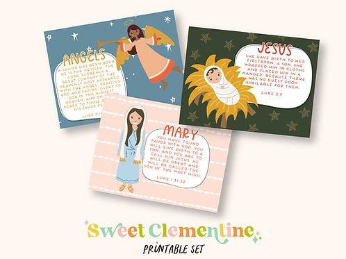 Download + Print   Nativity Story Printable Scripture Cards and Characters