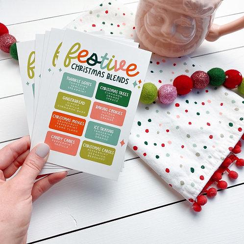 "PRINTED ""Festive Christmas"" Postcard | 5 Pack"