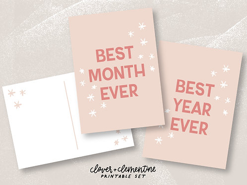 "Download + Print | ""Best Year Ever"" and ""Best Month Ever"" Postcard"