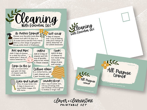 Cleaning with Essential Oils  | Printable Set