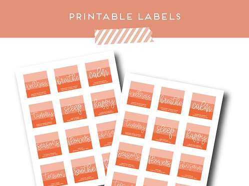 Citrus Roller Bottle Labels Set of 12 | Download + Print