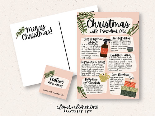 Christmas with Essential Oils | Printable Set