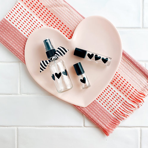 Hearts Trio Decal | Label for Dropper, Roller Bottle, etc
