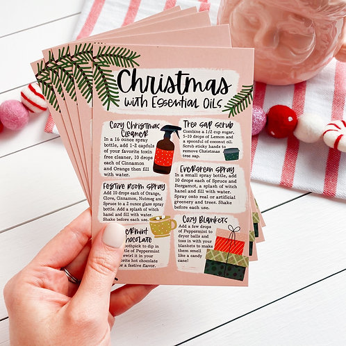 """PRINTED """"Christmas with Essential Oils"""" Postcard   5 Pack"""