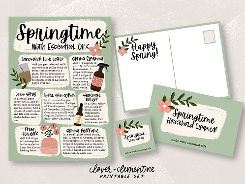 Spring with Essential Oils | DIY Set | Download + Print