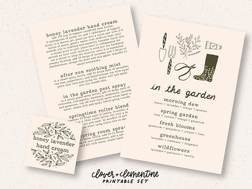 """In the Garden"" DIY Recipe and Sticker Set  
