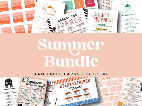 Summer Bundle | Collection of Printable Cards, Stickers, and more!