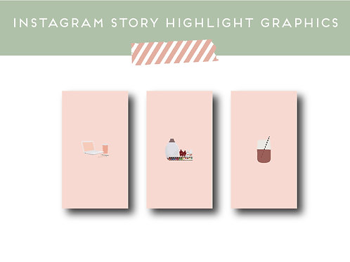 Digital | Instagram Story Highlight Covers | Graphic Pack | Set of 35 PINK Insta