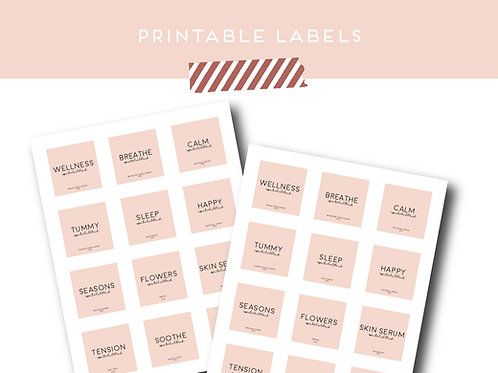 Minimalist Roller Bottle Labels Set of 12 | Download + Print